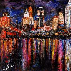 "Cincinnati Skyline | The Original JJCD painting 36"" x 36"" mixed media on canvas ~ SOLD"