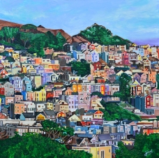 """Terrace View of Bernall Hill, San Francisco 36"""" x 36"""" acrylic on canvas ~ SOLD"""