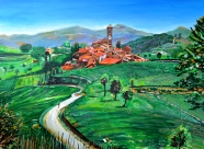 """Farm Town on Rolling Hills, Italy ~ 30"""" x 40"""" acrylic on canvas SOLD"""
