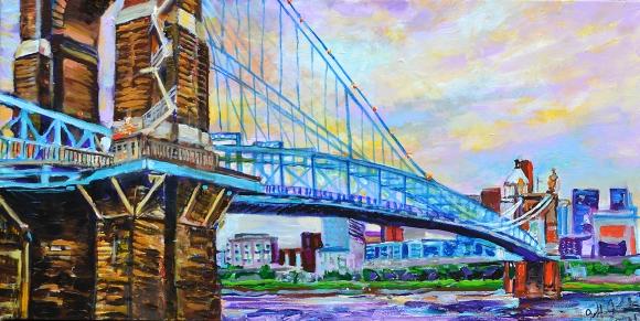 "Gorgeous Roebling Day, Cincinnati | 16"" x 30"" acrylic on canvas"